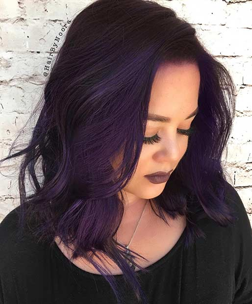 Dark Purple Lob Frisur
