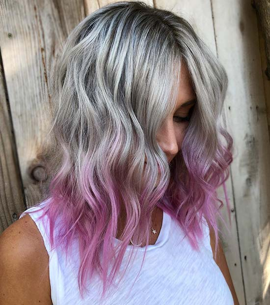 Icy Blonde to Purple Ombre Hair