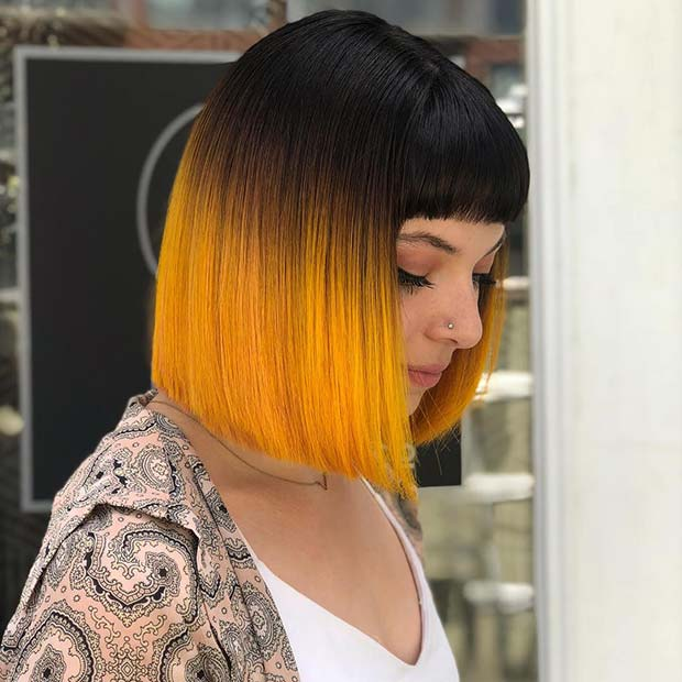 Statement Ombre Bob with Bangs