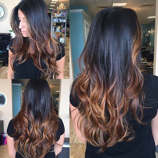 Golden Balayage Highlights für dunkelbraunes Haar