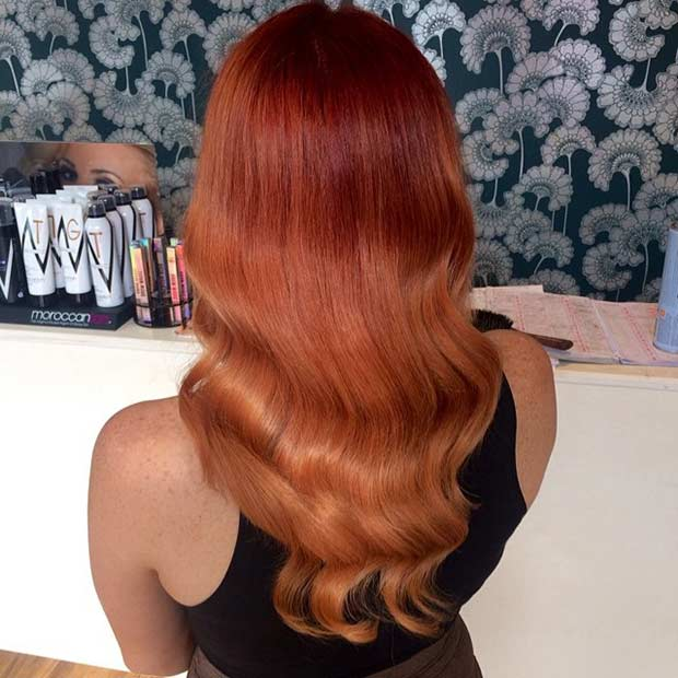 Red Copper Balayage Hair Color Idea
