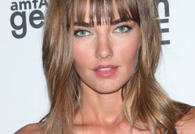 Alina Baikova Long Straight Casual    Hairstyle with Blunt Cut Bangs  - Light Brunette Hair Color