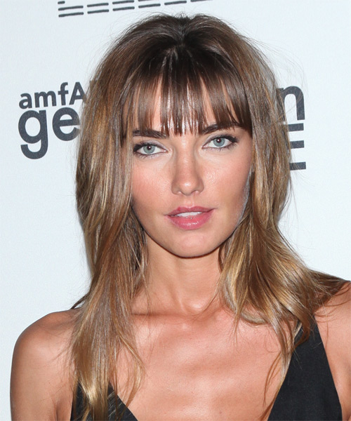 Alina Baikova Long Straight Casual    Hairstyle with Blunt Cut Bangs  – Light Brunette Hair Color