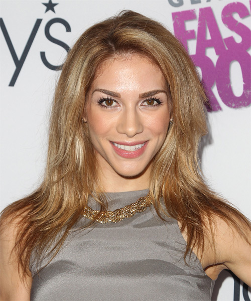 Allison Holker Long Straight Casual    Hairstyle   – Dark Copper Blonde Hair Color with Light Blonde Highlights