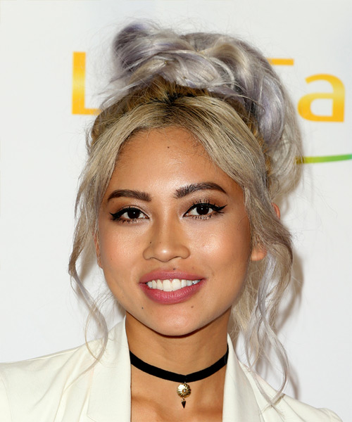 Amy Pham Long Straight Casual  Emo Updo Hairstyle with Layered Bangs  – Dark Blonde Hair Color