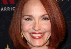 Amy Yasbeck Medium Straight Formal Layered Bob  Hairstyle   - Dark Red Hair Color