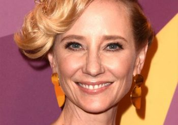 Anne Heche Medium Wavy Casual   Updo Hairstyle with Side Swept Bangs  - Light Blonde Hair Color