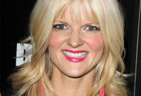 Arden Myrin Medium Straight Casual    Hairstyle with Layered Bangs  - Light Blonde Hair Color