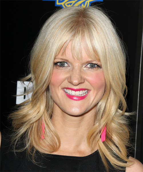 Arden Myrin Medium Straight Casual    Hairstyle with Layered Bangs  – Light Blonde Hair Color