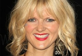 Arden Myrin Medium Wavy Casual    Hairstyle with Layered Bangs  -  Golden Blonde Hair Color