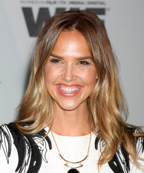 Arielle Kebbel Long Straight Casual Hairstyle – Light Golden Brunette Hair Color