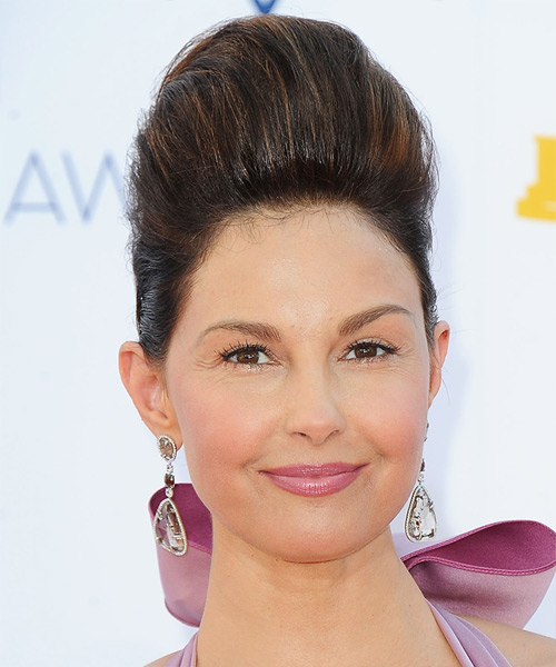 Ashley Judd  Long Straight Formal   Updo Hairstyle   - Dark Brunette Hair Color