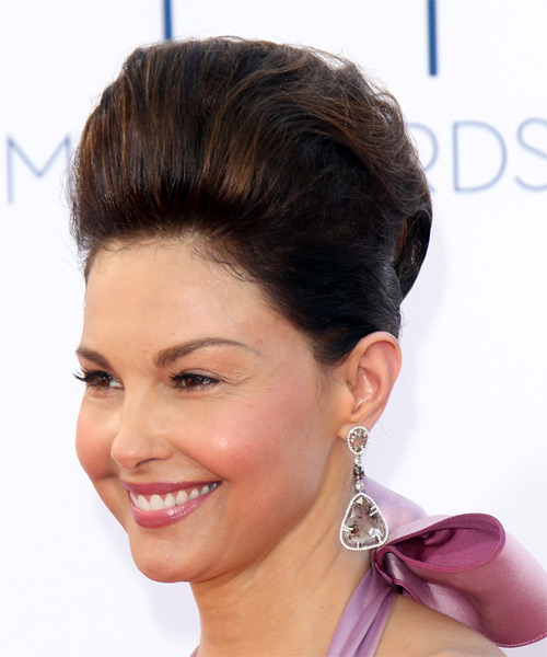 Ashley Judd  Long Straight Formal   Updo Hairstyle   - Dark Brunette Hair Color - Side on View