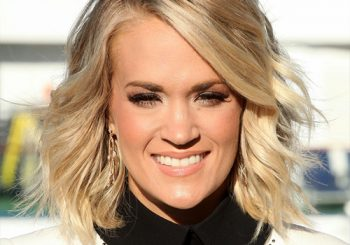 Carrie Underwood Medium Wavy Formal  Bob  Hairstyle   - Light Champagne Blonde Hair Color