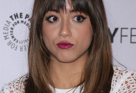 Chloe Bennet Long Straight Casual    Hairstyle with Layered Bangs  -  Brunette Hair Color