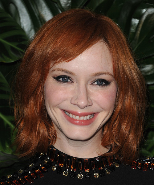 Christina Hendricks Medium Straight Casual    Hairstyle with Side Swept Bangs  - Ginger Hair Color