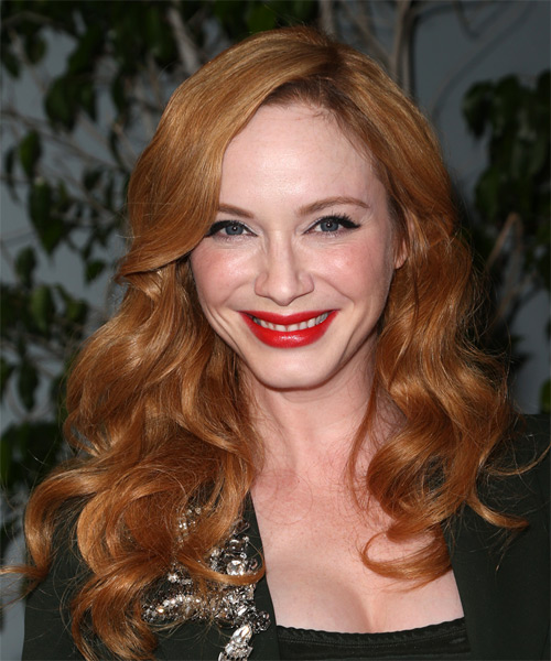 Christina Hendricks Long Wavy Casual    Hairstyle   -  Ginger Red Hair Color