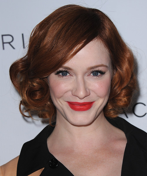 Christina Hendricks Short Curly Formal    Hairstyle   - Dark Copper Red Hair Color