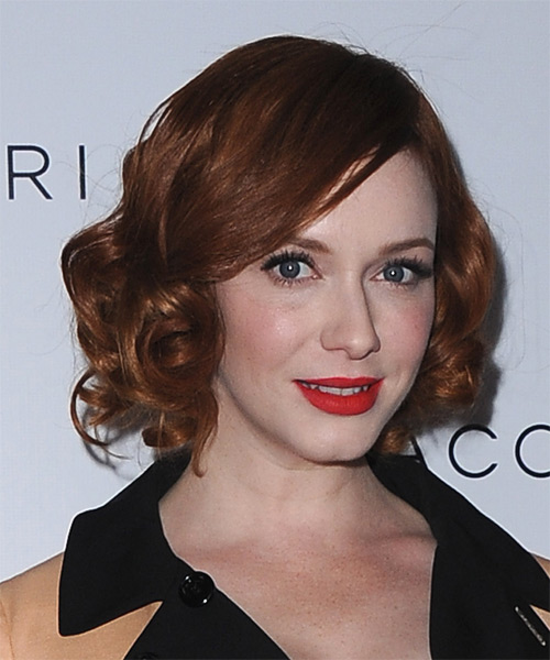 Christina Hendricks Short Curly Formal    Hairstyle   - Dark Copper Red Hair Color - Side on View