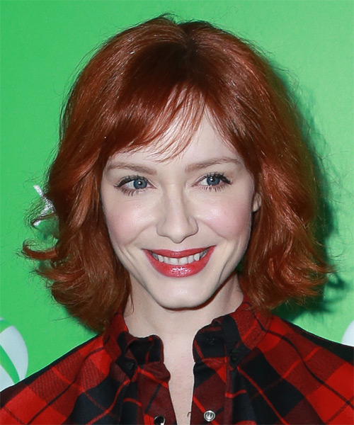 Christina Hendricks Medium Wavy Casual    Hairstyle with Side Swept Bangs  -  Red Hair Color