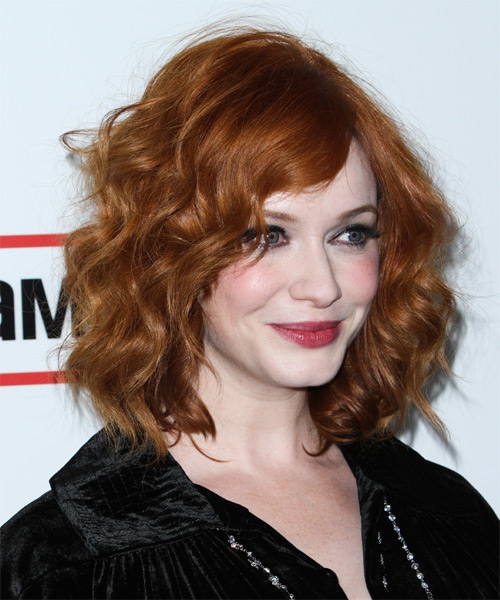 Christina Hendricks Medium Wavy Casual    Hairstyle   -  Ginger Red Hair Color - Side on View