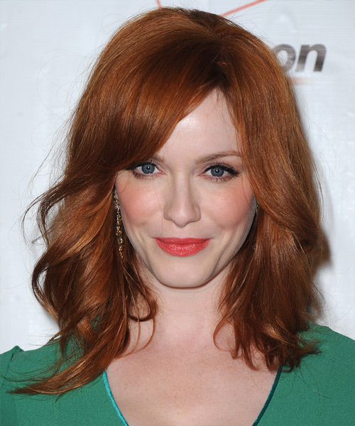Christina Hendricks Medium Straight Casual    Hairstyle with Side Swept Bangs  -  Copper Red Hair Color
