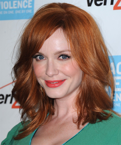 Christina Hendricks Medium Straight Casual    Hairstyle with Side Swept Bangs  -  Copper Red Hair Color - Side on View
