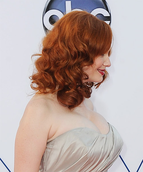 Christina Hendricks Medium Wavy Casual    Hairstyle   - Ginger Hair Color - Side on View