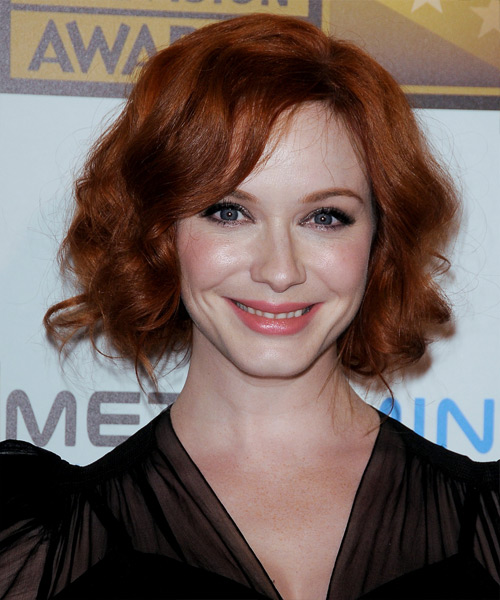 Christina Hendricks  Long Curly Formal   Updo Hairstyle with Side Swept Bangs  - Dark Copper Red Hair Color