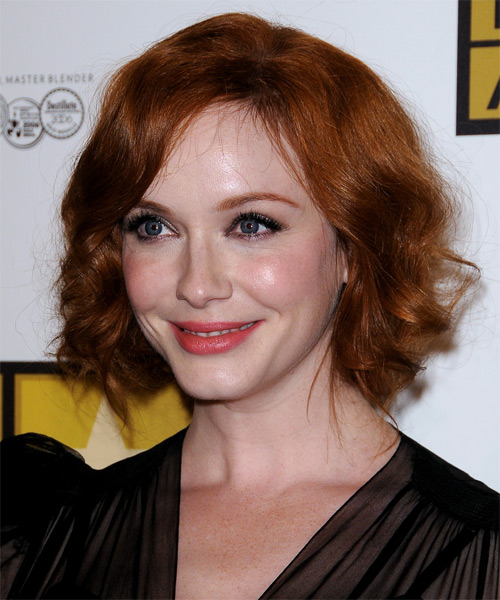 Christina Hendricks  Long Curly Formal   Updo Hairstyle with Side Swept Bangs  - Dark Copper Red Hair Color - Side on View
