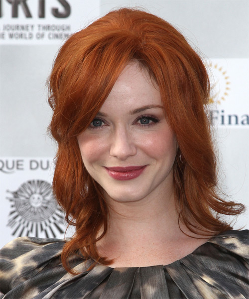 Christina Hendricks  Long Straight Casual   Half Up Hairstyle with Side Swept Bangs  -  Copper Red Hair Color