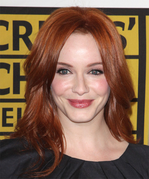 Christina Hendricks Long Straight Casual    Hairstyle   -  Ginger Red Hair Color
