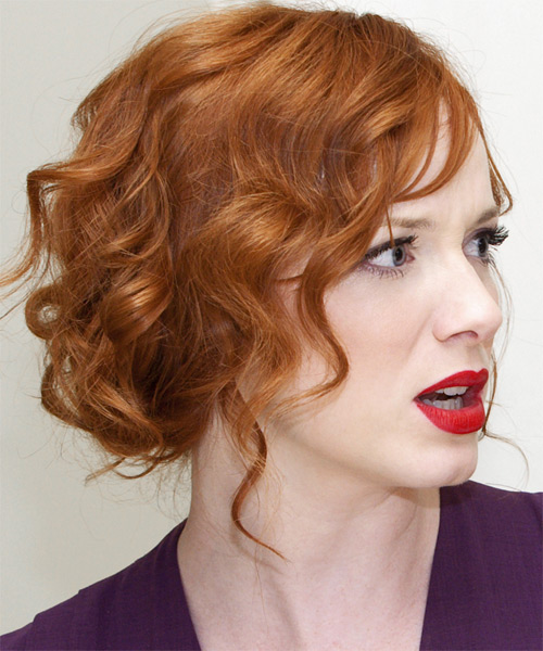 Christina Hendricks  Long Curly Formal   Updo Hairstyle   - Light Ginger Red Hair Color - Side View