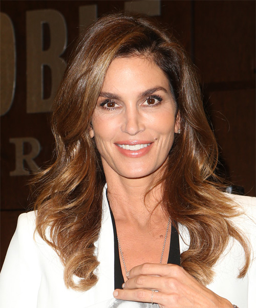 Cindy Crawford Long Wavy Casual    Hairstyle   - Dark Brunette Hair Color