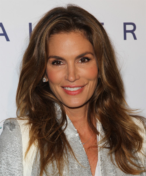 Cindy Crawford Long Straight Casual    Hairstyle   - Dark Brunette Hair Color
