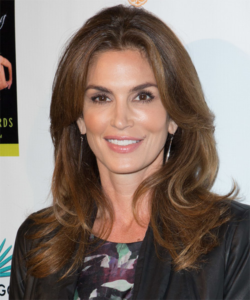 Cindy Crawford Long Straight Casual    Hairstyle   -  Brunette Hair Color