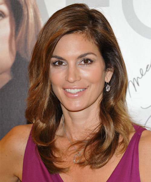 Cindy Crawford Long Straight Formal    Hairstyle   -  Auburn Brunette Hair Color with  Blonde Highlights