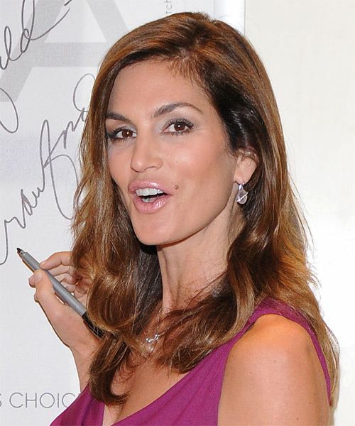 Cindy Crawford Long Straight Formal    Hairstyle   -  Auburn Brunette Hair Color with  Blonde Highlights - Side on View