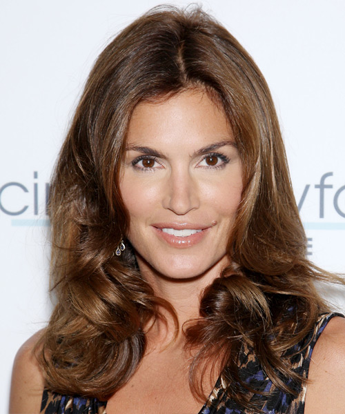 Cindy Crawford Long Wavy Formal    Hairstyle   -  Chocolate Brunette Hair Color