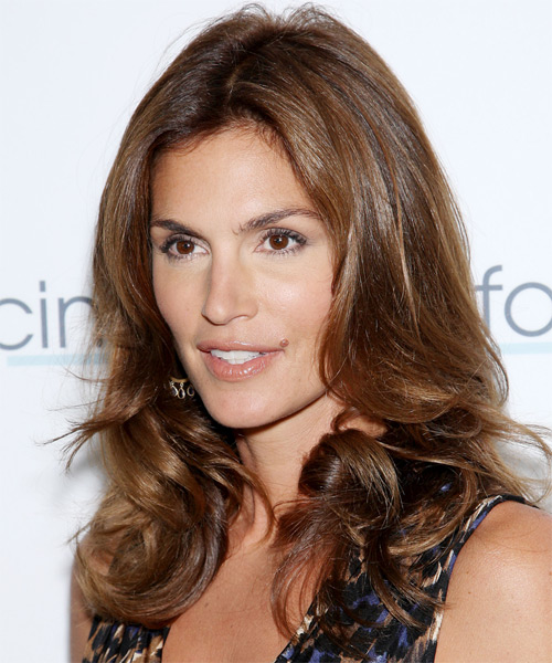 Cindy Crawford Long Wavy Formal    Hairstyle   -  Chocolate Brunette Hair Color - Side on View