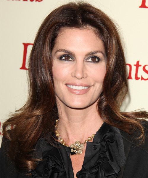 Cindy Crawford Long Straight Formal    Hairstyle   -  Chocolate Brunette Hair Color