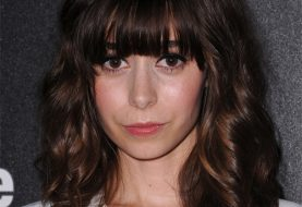 Cristin Milioti Medium Wavy Casual    Hairstyle with Blunt Cut Bangs  - Dark Brunette Hair Color