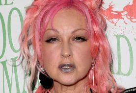 Cyndi Lauper Medium Wavy Alternative   Updo Hairstyle with Layered Bangs  - Pink  Hair Color