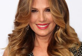 Daisy Fuentes Long Wavy Formal    Hairstyle   -  Auburn Brunette Hair Color