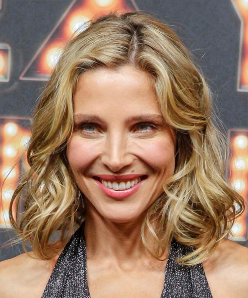 Elsa Pataky Medium Wavy Formal  Bob Hairstyle   –  Champagne Blonde Hair Color