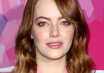 Emma Stone Medium Wavy Casual  Bob  Hairstyle with Side Swept Bangs  - Dark Copper Red Hair Color
