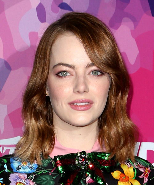 Emma Stone Medium Wavy Casual  Bob  Hairstyle with Side Swept Bangs  – Dark Copper Red Hair Color
