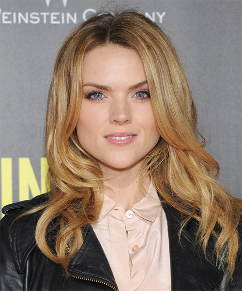Erin Richards Long Straight Casual  Hairstyle – Dark Copper Blonde Hair Color