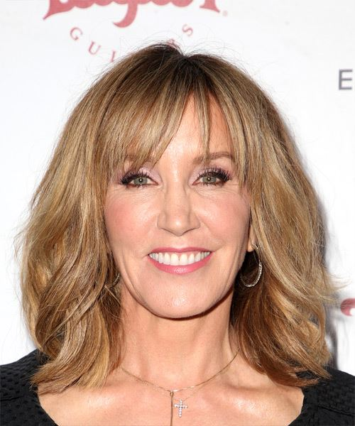 Felicity Huffman Medium Straight Casual    Hairstyle with Layered Bangs  - Dark Blonde Hair Color