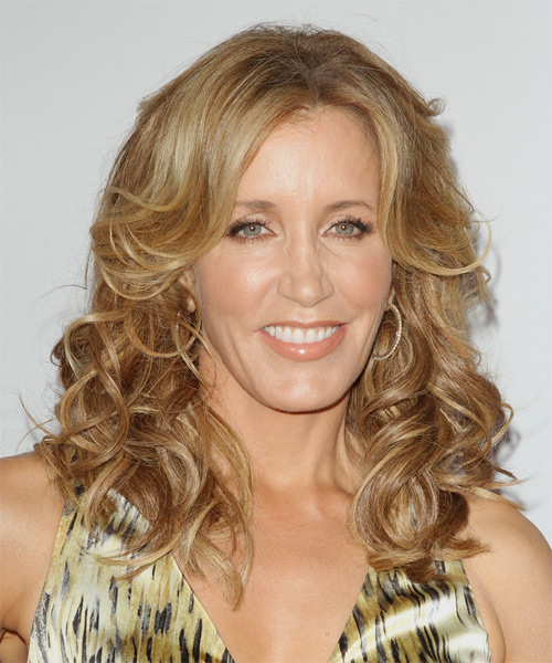 Felicity Huffman Long Wavy Casual    Hairstyle   -  Golden Blonde Hair Color with Light Blonde Highlights